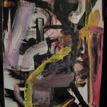 """""""Das kleine Gespenst im Rollstuhl"""" (50 x 70 cm; acrylic, fingerpaint and marker on canvas.)"""