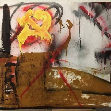 """Blühende Landschaften (Kommunismus)"" (""flourishing landscapes [communism]""; 70 x 90 cm;enamel, spray paint, finger paint, acrylic on canvas.)"