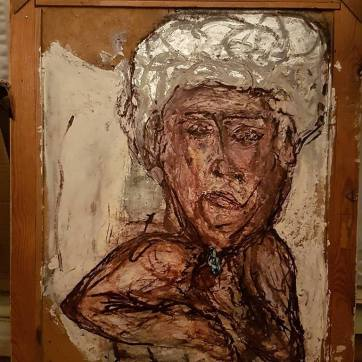 'Der Mann mit dem türkisenen Mal' (50 x 70 cm;mixed media painting on board; framed.)