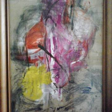 """Fleisch Innocent X"" ( 52 x 72 cm; acrylic, ink, laque & chalk on cardboard; framed.)"