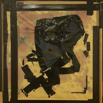 """No Angels (in der Geschichte)"" (70 x 90 cm; burned Underwear, Tape, red Wine, feltpen; collaged on Card board ;framed.)"