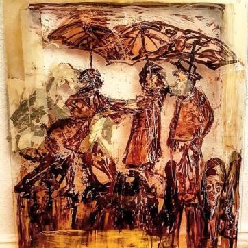 """Seaside Promenade"" (60 x 80 cm; mixed media on glass)"