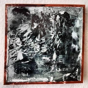 'u.t.' (8 x 8 cm; inkjet print [digital photomontage], glass and mixed media; framed)